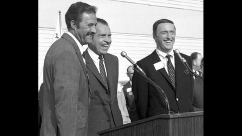 """The 1968 presidential campaign went down to the wire, and little things may have made the difference -- such as Richard Nixon, the Republican candidate, going on the popular """"Rowan and Martin's Laugh-In"""" <a href=""""http://www.youtube.com/watch?v=8qRZvlZZ0DY"""" target=""""_blank"""" target=""""_blank"""">to say one of the show's catchphrases</a>: """"Sock it to me."""" Here, Nixon is flanked by Dan Rowan, left, and Dick Martin at an event in October 1968."""