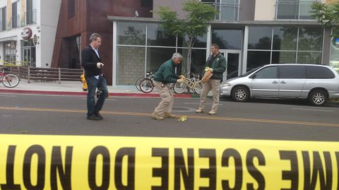 The crime scene in the aftermath of the shooting.