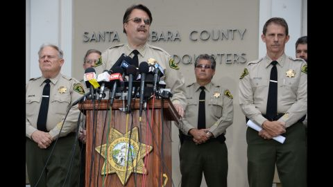 """Santa Barbara County Sheriff Bill Brown speaks at a press conference regarding murder suspect Elliot Rodger on May 24. All the weapons used in Friday's rampage """"were legally purchased"""" and registered to the suspect, Brown told reporters."""