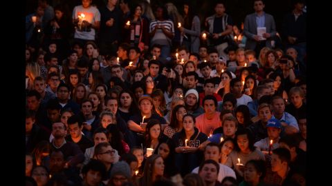 Students gather for a candlelight vigil at the University of California, Santa Barbara, on Saturday, May 24.