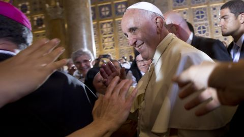 Pope Francis arrives to meet prelates, nuns and seminarists at the Church of Gethsemane in Jerusalem on May 26.