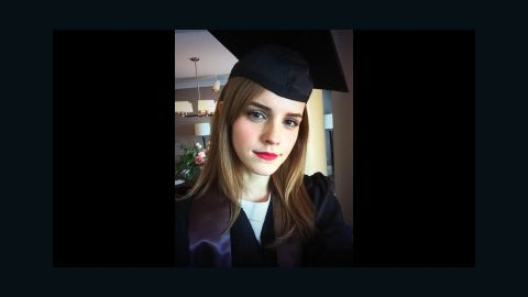 """Actress Emma Watson <a href=""""https://twitter.com/EmWatson/status/470595940538404864/photo/1"""" target=""""_blank"""" target=""""_blank"""">tweeted this selfie</a> after graduating from Brown University on Sunday, May 25. The """"Harry Potter"""" star received a degree in English literature."""