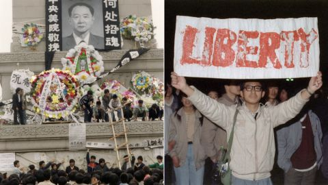 April 1989, Beijing, Hu Yaobang's death triggers student demonstrations, occupation of Tiananmen Square.