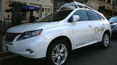 """<a href=""""http://edition.cnn.com/2014/04/28/tech/innovation/google-self-driving-car/"""">Google has logged over 300,000 miles testing driverless cars </a>around the United States. Pictured here is its Lexus RX 450H self-driving car parked on a street in Washington, D.C., in April 2014."""