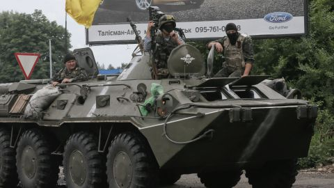 A Ukrainian armored personnel carrier takes position during a battle with pro-Russian separatist fighters May 31 in Slovyansk.