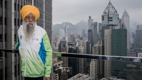 """<a href=""""http://www.cnn.com/2013/05/09/sport/fauja-singh-marathon-oldest/index.html"""">Fauja Singh is recognized</a> as the first 100-year-old to ever run a marathon. The great-grandfather, nicknamed the <a href=""""https://www.facebook.com/Fauja-Singh-225889357609/"""" target=""""_blank"""" target=""""_blank"""">""""Turbaned Tornado</a>,"""" continues to run or walk every day. Now 106, he took up running to overcome his grief after the death of his wife and a son. He ran his first marathon at age 89. The key to life: """"Laughter and happiness. That's your remedy for everything."""""""