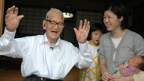 """Jiroemon Kimura was born April 19, 1897, and died June 12, 2013, at the age of 116. The retired Japanese postal worker attributed his long life to eating light, working in the sunshine and not smoking. After his postal career, he worked on a farm: """"I am always looking up towards the sky; that is how I am."""" Of his six siblings, five lived to the age of 90."""