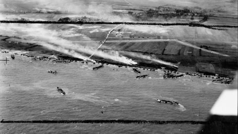 The British Army's 50th Infantry Division lands on beaches in Normandy.
