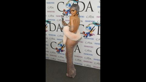 Is it any shock that Rihanna showed up in a see-through dress to receive a Fashion Icon award at the 2014 CFDA fashion awards? After all, she has a perfume called Nude. (You can search around for the more explicit pics, as we are a family-friendly site.)