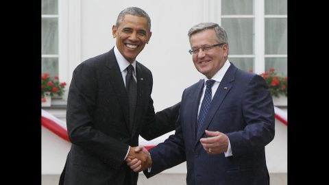 """Komorowski welcomes Obama at his residence in Warsaw on June 3. Obama hailed Poland as """"one of our great friends and one of our strongest allies in the world."""""""