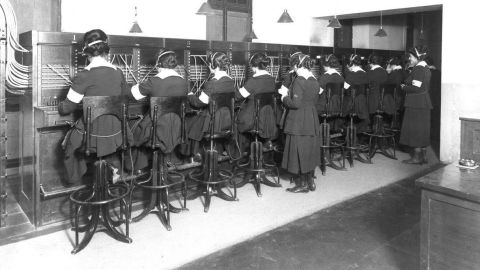 """""""Hello Girls"""" at work. The U.S. Army trained more than 400 female telephone operators to serve in France and England for the Army Signal Corps. These women were bilingual, speaking French and English."""