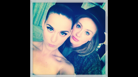 """Two of the world's biggest pop stars -- Katy Perry, left, and Adele -- appear in a selfie that was posted to <a href=""""http://instagram.com/p/oj4Oyvv-dG/"""" target=""""_blank"""" target=""""_blank"""">Perry's Instagram account</a> on Wednesday, May 28. It was taken while Perry was in London for her Prismatic World Tour. """"...And on the 2nd LDN show the Queen graced me with her presence,"""" Perry wrote."""