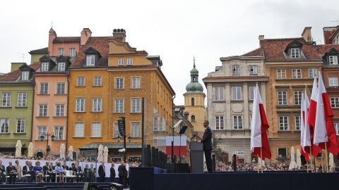 """Obama speaks at the 25th anniversary celebrations in Warsaw on June 4. Poland's historic election, led by the Solidarity movement in 1989, """"was the beginning of the end of communism -- in this country and across Europe,"""" Obama said."""