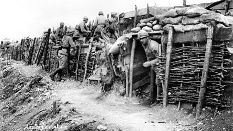 French soldiers are seen at a front-line trench in Italy. During World War I, the Allied Powers consisted of Belgium, France, Great Britain, Greece, Italy, Montenegro, Portugal, Romania, Russia, Serbia and the United States. The Central Powers consisted of Austria-Hungary, Bulgaria, Germany, and Ottoman Empire (now Turkey).