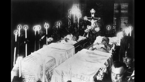 The bodies of Austria-Hungary Archduke Franz Ferdinand and his wife, Sophie, Duchess of Hohenberg, are seen after their assassination by Serbian nationalist Gavrilo Princip on June 28, 1914. The assassination led Austria-Hungary to declare war on Serbia, starting a chain of events that would gradually bring other nations into the fray.