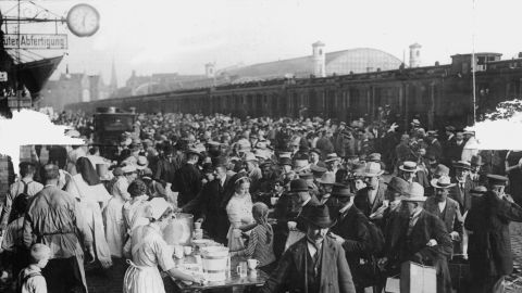 Germans in Berlin mobilize for war on August 1, 1914. Germany was a strong ally of Austria-Hungary.