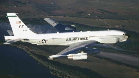 """An American RC-135U, similar to this one, was intercepted by a Russian fighter jet earlier this month while flying in international airspace north of Poland. The U.S. crew believed the Russian pilot's actions were """"unsafe and unprofessional due to the aggressive maneuvers it performed in close proximity to their aircraft and its high rate of speed,"""" Pentagon spokesman Mark Wright said."""