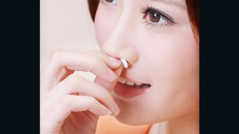 """The pollution problem is also driving innovation. Infipure's """"nose mask"""" claims to cut 99% of PM 2.5 particles without the bulkiness of a surgical face mask. The disposable filters, made from non-toxic, latex-free materials, are inserted into your nostrils and aim to be undetectable."""
