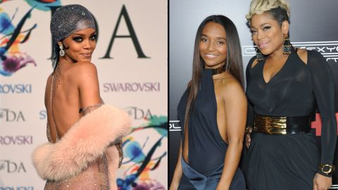 """Rihanna's bare-it-all style caught flak from the ladies of TLC. """"Every time that I see you, you don't have to be naked,"""" T-Boz said during an interview <a href=""""https://www.youtube.com/watch?v=WDTGhAjq2bU#t=2m"""" target=""""_blank"""" target=""""_blank"""">with an Australian media outlet</a>. """"We became the biggest-selling girl group of all time with our clothes on."""" Rihanna's response? <a href=""""https://twitter.com/rihanna"""" target=""""_blank"""" target=""""_blank"""">A series of pointed subtweets and a new Twitter header</a> that shows a topless TLC."""