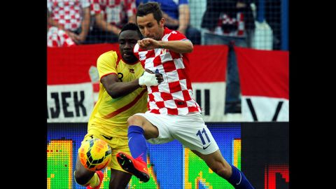 """<strong>Darijo Srna (Croatia):</strong> Srna, right, is Croatia's team captain and most-capped player. He plays professionally for Shakhtar Donetsk, whose stadium is an hour's drive from the Ukraine-Russia border. Chelsea and Bayern Munich have unsuccessfully courted the midfielder and right back, who has an eye for goal. But he said his heart led him to stay in Ukraine. Oh, and he has a leg tattoo of a deer (or """"srna"""" in Croatian) playing soccer."""