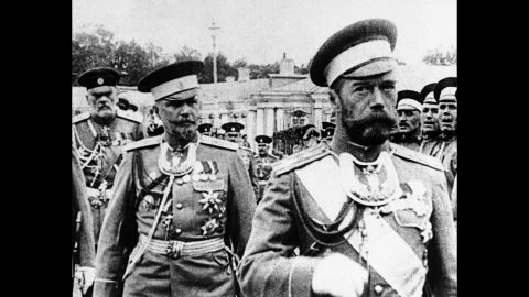 Czar Nicholas II of Russia, right, reviews the palace guard just prior to the Russian Revolution of 1917.