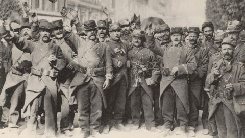 """French soldiers sing the national anthem at the beginning of World War I in August 1914. This """"war to end all wars"""" might seem like ancient history, but it changed the world forever. It transformed the way war was fought, upended cultures and home life and stimulated innovations that affect us today. With more than 30 combatant nations and nearly 70 million men mobilized, World War I profoundly destabilized the international order. Look back at some of the war's key events."""