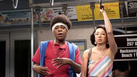 """Tracy Morgan with Maya Rudolph in the """"On The Subway"""" skit on April 13, 2002."""