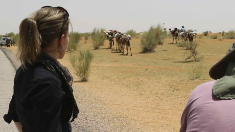 CNN's crew stops to film a camel caravan in the Diffa region of Niger on Saturday, May 31. Cross-border trade has existed for centuries, but increased attacks by Boko Haram in northeast Nigeria has meant more and more people are choosing to stay in Niger.