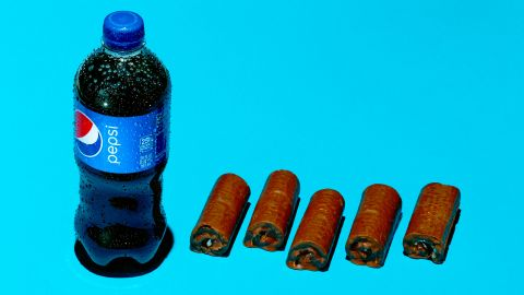A 20-ounce bottle of Pepsi contains 69 grams of sugar. Each Little Debbie Swiss Roll contains an estimated 13 grams of sugar.