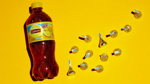 There are 32 grams of sugar in this 20-ounce bottle of iced tea. Each of these 12 Hershey's Kisses contains approximately 2.5 grams of sugar.
