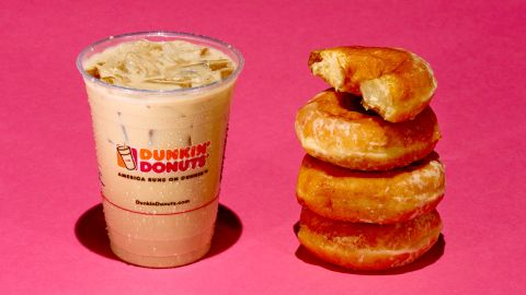 A 16-ounce Dunkin Donuts Iced Caramel Latte has 37 grams of sugar. Each Krispy Kreme donut has about 11 grams of sugar.