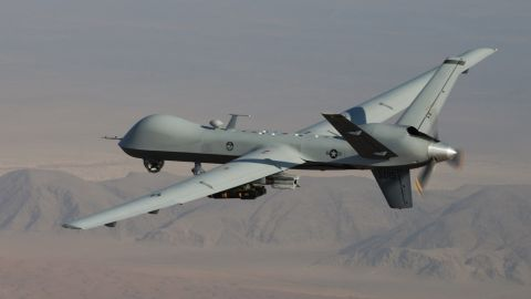 An MQ-9 Reaper, armed with laser-guided munitions and Hellfire missiles, flies a combat mission over southern Afghanistan. The Reaper has been in use since 2007.
