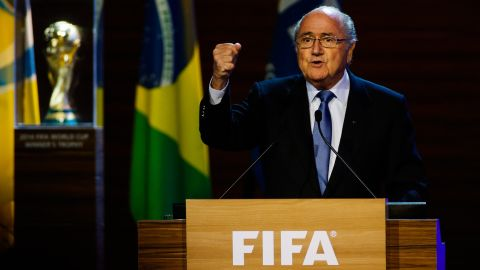 SAO PAULO, BRAZIL - JUNE 11: President of FIFA Joseph Blatter speaks to the audience during the opening ceremony of the 64th FIFA Congress at the Expocenter Transamerica on June 11, 2014 in Sao Paulo, Brazil. (Photo by Alexandre Schneider/Getty Images)