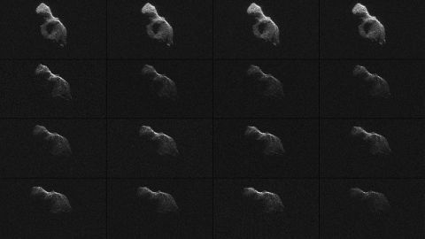 """NASA scientists used Earth-based radar to produce these sharp views of the asteroid designated<a href=""""http://www.nasa.gov/jpl/asteroid/giant-telescopes-pair-up-to-image-near-earth-asteroid/index.html#.U5nrgii4SEK"""" target=""""_blank"""" target=""""_blank""""> """"2014 HQ124""""</a> on June 8, 2014. NASA called the images """"most detailed radar images of a near-Earth asteroid ever obtained."""""""