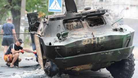A military vehicle was destroyed during a clash between Ukrainian troops and pro-Russian separatists Friday, June 13, in Mariupol, Ukraine.