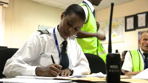 """Being a pilot isn't just sitting in the cockpit, explains Mbabazi. """"Basically you need to know your crew: who you are flying with, and the weather, from your departure, your arrival and your alternate, if the weather in your destination is not good, so you need the alternate as well."""" And that's before you even get onto the aircraft..."""