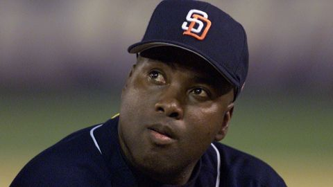 7 Oct 01: San Diego Padres outfielder Tony Gwynn watches a video tribute during his retirement ceremonies following his final game, versus the Colorado Rockies at Qualcomm Stadium in San Diego, California. DIGITAL IMAGE Mandatory Credit: Stephen Dunn/Allsport