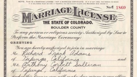 Clerk Clela Rorex issued Adams and Sullivan a marriage license. It was never rescinded.