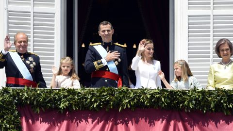 Left to right: Spain's King Juan Carlos, Princess of Asturias Leonor, newly crowned King Felipe VI, Queen Letizia, Princess Sofia and Queen Sofia pose on the balcony of the Palacio de Oriente, or Royal Palace, in Madrid on Thursday, June 19, after a swearing in ceremony of Felipe as Spain's new king.