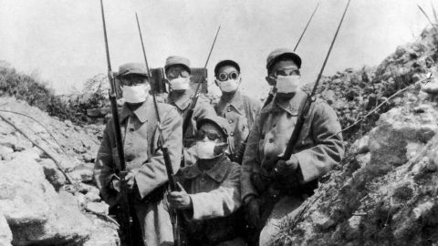 French troops wearing an early form of gas mask in the trenches during the first widespread use of gas, by the Germans at the 2nd Battle of Ypres, 1916.