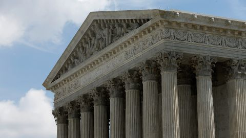 The US Supreme Court is shown after members of the court issued major rulings on cell phone privacy and copyright law June 25, 2014 in Washington, DC. (Photo by Win McNamee/Getty Images)