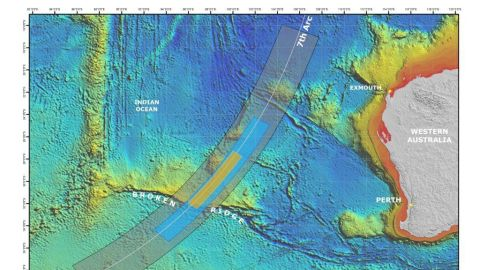 """Australian Deputy Prime Minister Warren Truss announced a """"refined"""" search area for missing flight MH370 Thursday. Malaysia, China and Australia announced the new high priority search zone -- 60,000 square km in area -- which is the broader blue area. The main priority area is the orange area in the center.  The blue area overlaps is the previous search area and the orange area """"is where we think the best prospect of locating the missing aircraft is highest."""" The area searched to date is 860 square km."""
