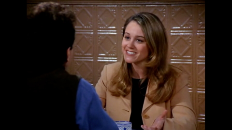 """Christine Taylor plays Jerry's girlfriend Ellen, who is perfect in every way, except that she seems to have no friends. Jerry flies his parents out to meet her, and when they love her too, he decides that something must be wrong with her and that he needs to break up with her. Taylor is best known for her roles in the """"Brady Bunch"""" movies, """"Zoolander"""" and  """"Dodgeball: A True Underdog Story."""" Taylor is also married to Ben Stiller."""