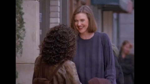 """Brenda Strong appears in several episodes throughout the series as Elaine's archnemesis since high school. Strong plays Sue Ellen Mischke, who never wears a bra. Elaine is so obsessed that Sue Ellen doesn't wear a bra that she gives her one as a gift, which Sue Ellen then wears down the street as a shirt, which causes Kramer to crash Jerry's car because they're so distracted watching her. Seven years later, Strong played the character that drove the entire plot line of """"Desperate Housewives,"""" Mary Alice Young."""
