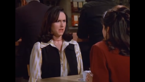 """Molly Shannon plays Elaine's co-worker, Sam, a woman who doesn't move her arms when she walks. In the season eight episode, Sam sees Elaine making fun of her and trashes Elaine's office and leaves her crazy voice mails. Shannon is known for her work on """"Saturday Night Live."""""""