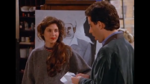 """Catherine Keener<strong> </strong>plays Jerry's new girlfriend Nina for an episode in season 3. Nina is an artist who paints Kramer as """"a loathsome, offensive brute,"""" and yet you cannot look away. Nina's father then offers the crew Yankee tickets in the owner's box. But things unravel for the couple at the game when Elaine is ejected from the seats for refusing to remove her Baltimore Orioles cap. Keener has appeared in multiple roles since, although her most famous part may be as Trish Piedmont in """"The 40 Year Old Virgin."""""""