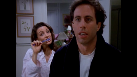 """Kristin Davis<strong> </strong>played Jerry's girlfriend Jenna in season eight's episode """"The Pothole."""" The relationship was doomed when Jerry accidentally drops her toothbrush in the toilet and Jenna uses it before he's able to warn her. Germaphobe Jerry secretly sterilizes her mouth, but still can't bring himself to kiss her after she used the toilet toothbrush. A year after her """"Seinfeld"""" debut, Davis gained fame playing Charlotte York in """"Sex and the City."""""""