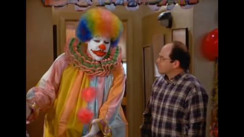 """Jon Favreau<strong> </strong>might be a surprise to some because he appeared on season five in full face makeup as Eric the Clown. Eric is hired to entertain at George's girlfriend's son's party. George and Eric get into a fight because George keeps pestering him. But when there is a fire in the apartment and George storms out in terror, Eric is  the hero of the day. Favreau is best known for directing movies like """"Elf"""", executive producing """"Iron Man 3"""" and acting in movies such as """"The Break-Up."""" He wrote and directed the recent movie """"Chef.""""<br />"""