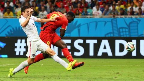 Belgian striker Romelu Lukaku scores his team's second goal in extra time. The game was scoreless after regulation.