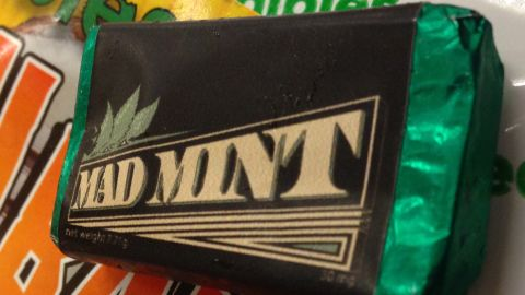 30 mg THC in this 'Mad Mint' candy. It's about the size of one Hershey mini candy bars. Each little bar has 3 doses of marijuana.